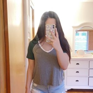 Gray and Green Tee